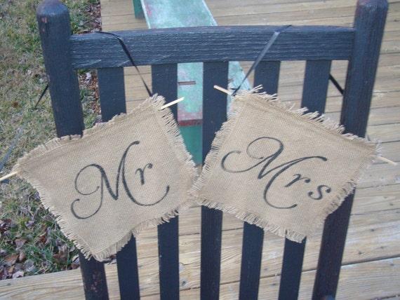 Mr & Mrs Chair Signs Burlap Wedding Sign Photo Prop decoration Rustic woodland