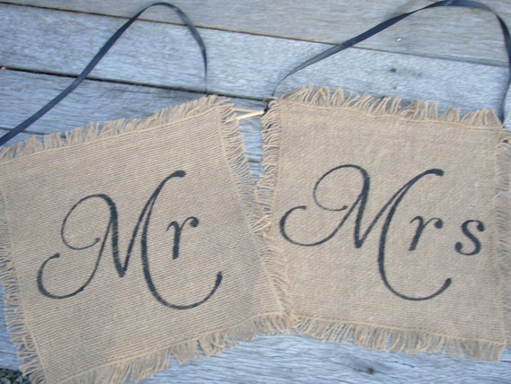 Mr & Mrs Chair Signs Burlap Wedding Sign Photo Prop decoration Rustic woodland
