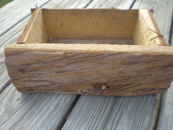 Rustic Woodland wedding program card holder flower box Tree Bark Box