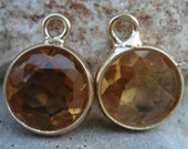 Citrine Hydro Quartz Faceted Rounds Bezeled 24 KT Gold