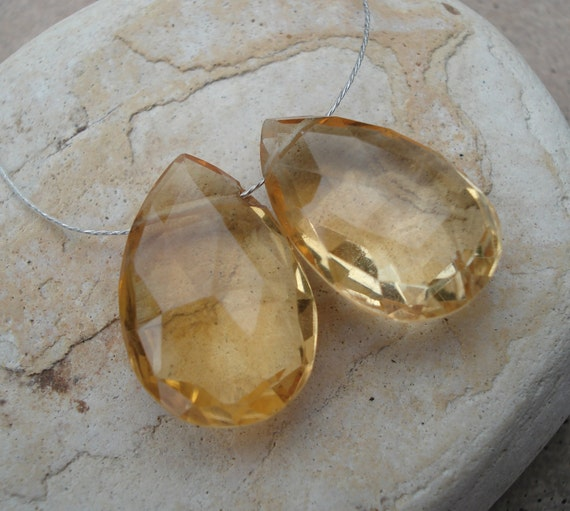 Citrine Briolettes 2 Matched Pairs 10mm