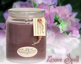 Love Spell Candles, Designer Fragrance, Large 16oz Natural Soy Wax Scented Candles