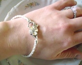 White Braided Leather Cord Bracelet with Large Flower Clasp for European Charms and Beads
