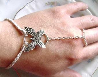 Butterfly Slave Bracelet Beach Bride Boho Finger Bracelet Gypsy Hand Adornment Made in USA