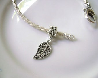 Filagree Leaf  Dangle Charm Bead fits European Style Charm Bracelets, Necklaces