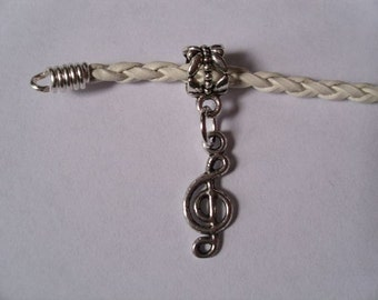 Treble Clef Dangle Charm Bead fits European Charm Bracelets, Necklaces