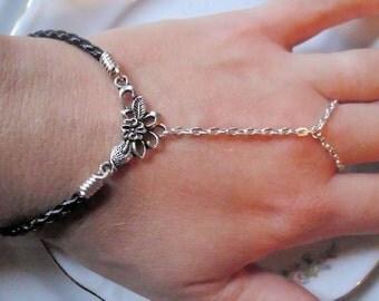 Floral Slave Bracelet with Black Braided Leather