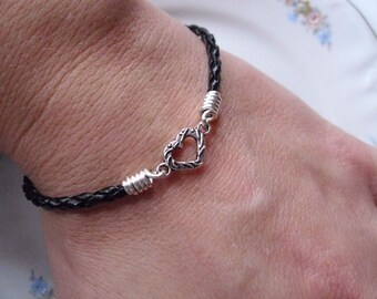 My Tiny Heart Black Braided Leather Bracelet Mommy and Me Stackable Leather Bracelet Child Bracelet Handmade in the USA