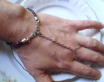 Greecian Floral Black Leather Slave Bracelet Boho Finger Hand Gypsy Bracelet