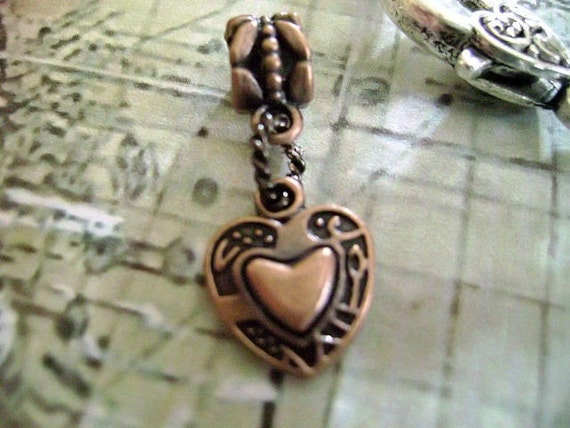 Copper Heart  Dangle Bead for European Style Charm Bracelet