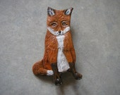Red Fox brooch made from leather  Beautiful detail