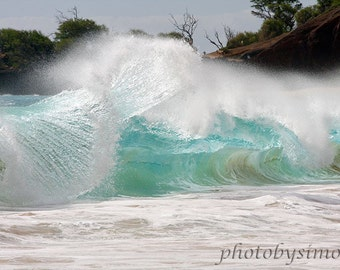 Shore break backwash wave Hawaii turquoise wave Makena Maui fine art photography