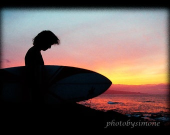 Surfer silhouette fiery sunset beach photography Maui Hawaii  orange red black