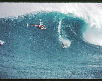 Vintage photo huge wave Maui Jaws 7x10 winter grainy film helicopter jetski blue ocean