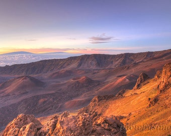 Pastel sky sunrise Haleakala Maui soft blue warm light
