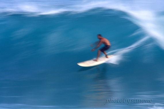 Soft wispy wave surfer riding blue dreamy wave Hawaii fine art photography