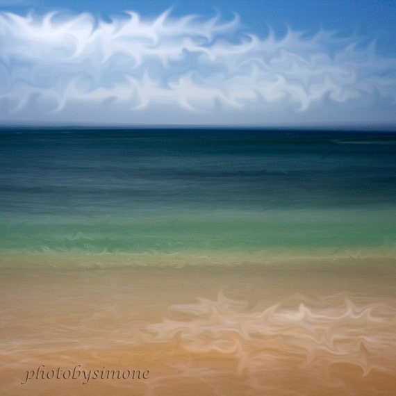 Abstract beach art emerald ocean fantasy tropical dreamscape fine art canvas photography