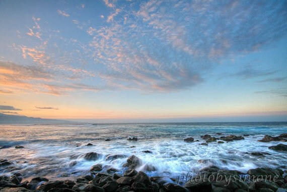 Ocean sunset Hawaii landscape seascape fine art photography water movement