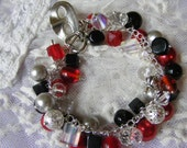 Phantom of ther Opera, red, black, white, and silver  cluster bracelet
