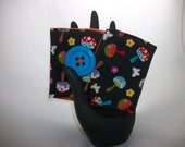 """Reusable Coffee Tea Cozy in """"Mushrooms"""" Designer fabric Big blue button lined and durable washable Eco Friendly"""