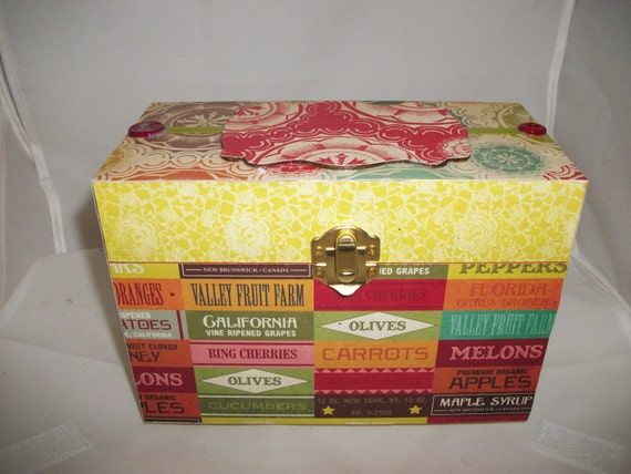 Recipe Box Embellished Customizable Designer Sealed Paper 4x6inches Ingredients Housewarming gift idea