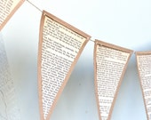 Vintage Paper Bunting - Rustic Wedding Decoration - Made to Order