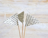 Vintage Paper Cupcake Flags -12 Cake Flags - Made to Order