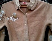 rustic road trip rockies vintage mocha eco wool sweater lace vintage buttons RESERVED FOR GENEVIEVE