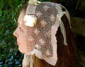 Reserved for Mary Paul rustic birdcage vintage lace handmade hand dyed veil headpiece veil mantilla coveringRe