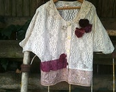 Custom Lace Jacket EXample Vintage laces ribbon Oatmeal natural ecru Burgundy Raspberry flowers