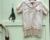 SALE Boho gypsy linen  shirt Ecru shirt Pale Natural  Upcycled Cowgirl Shabby Vintage Lace rustic top