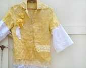 SALE Rustic summer daffodil yellow linen shirt eyelet shirt lemon yellow prairie girl shirt  upcycled boho vintage laces, roses