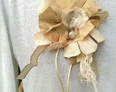 Shabby Chic brooch, Gypsy Girl Brooch, handmade, vintage linens, homespun, lace, jewelry, prairie girl, rustic, anthropologie like