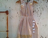 Autumn  shabby rustic dress Prairie Girl Ecru Kateblossom Free people Bride Bridesmaid Fairy Vintage Linen dress