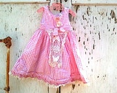 Autumn pink  blossom Toddler dress little Girl Country Birthday gingham polly flinders Shabby Chic Lace Rustic kateblossom