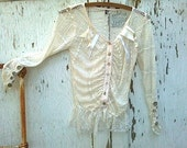 autumn Lace boho blouse city girl ecru lace Romantic Anthropologie like rustic top pearl buttons ribbons by Kateblossom