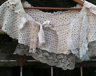 CUSTOM example made to order Vintage linen handmade rustic bride boho girl wedding ecru cape shawl shrug gift , crochet