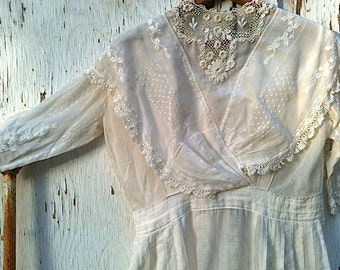 SALE ivory bride Antique vintage Edwardian handmade  wedding dress handkerchief linen prairie lace spring cottage shabby mountain forest
