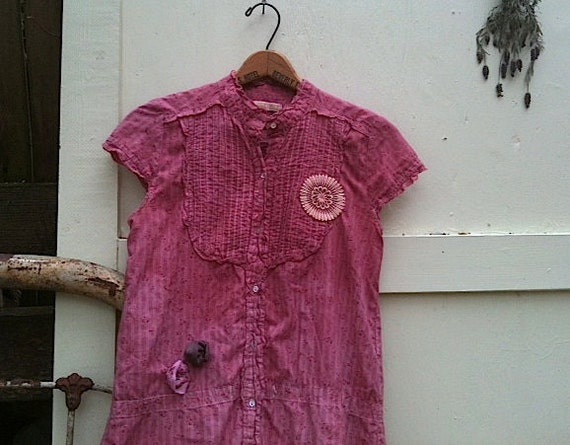 SALE autumn rustic rose Pink tunic hand dyed shabby chic Texas cowgirl western boho gypsy prairie girl dress