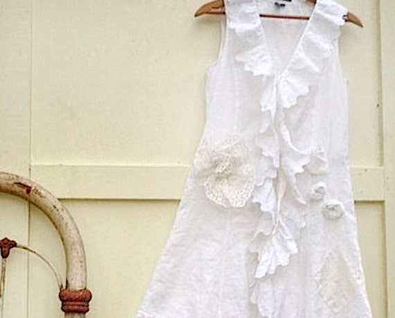 Autumn winter Bride White Rustic dress pearl anthropologie like prairie girl upcycled Linen dress lace dress ruffles
