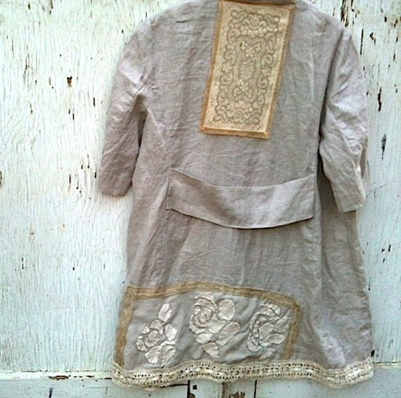 Boho autumn Rustic Prairie linen tunic Eco dress hand appliqued Rose  Vintage Lace Duster, Coat shabby dress jacket