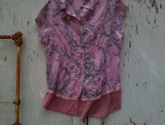 rustic Rose blouse spring shirt Pink Gray top hand dyed clothes Shabby chic blouse prairie girl top shirt