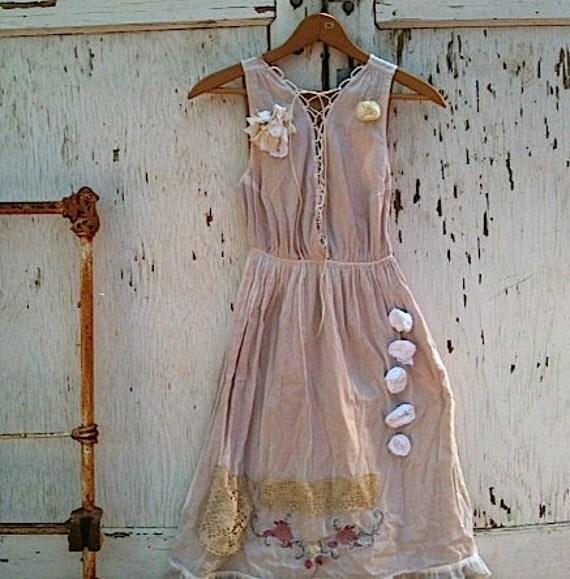 Autumn  shabby rustic dress Prairie Girl Ecru Kateblossom Free people Bride Bridesmaid Fairy Vintage Linen dress