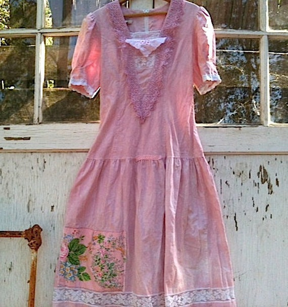 summer of the 80s Retro Gunne Sax romantic hand dyed Upcycled cotton Lace Forest Eco 70s Bridesmaid party dress
