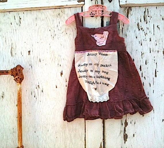 little autumn bird rustic Toddler dress/Nursery rhyme dress/Plum Pudding ooak  jam blackberry plum little girls hand dyed stamped sundress