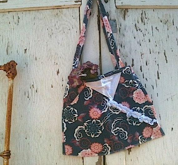 RESERVED FOR M. Shabby  upcycled denim flowery purse iPad bag gym bag makeup bag yoga bag rustic purse, handmade bag boho hobo bag