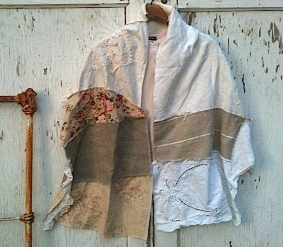 Autumn mocha ecru latte shabby chic shawl rachel ashwell fabric upcycled english roses vintage lace bride can do custom
