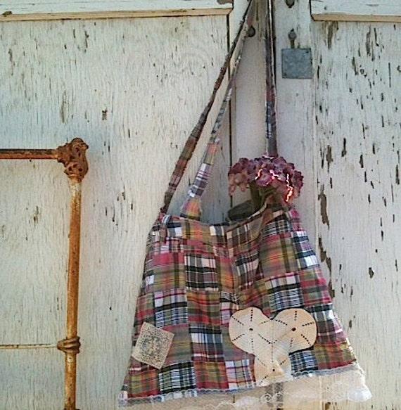 shabby fairy gypsy boho earthy gift plaid hobo bag eco skirt vintage lace ipad gym yoga pilates bag tote