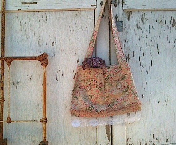 RESERVED for Carol  peach khaki cream green upcycled boho hobo bag eco made from skirt vintage lace ipad gym yoga pilates bag