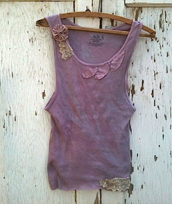 Rustic plum tee sleeveless tank top shirt hand dyed shabby top Lace anthropologie like prairie girl Berry appliqué linen cowgirl